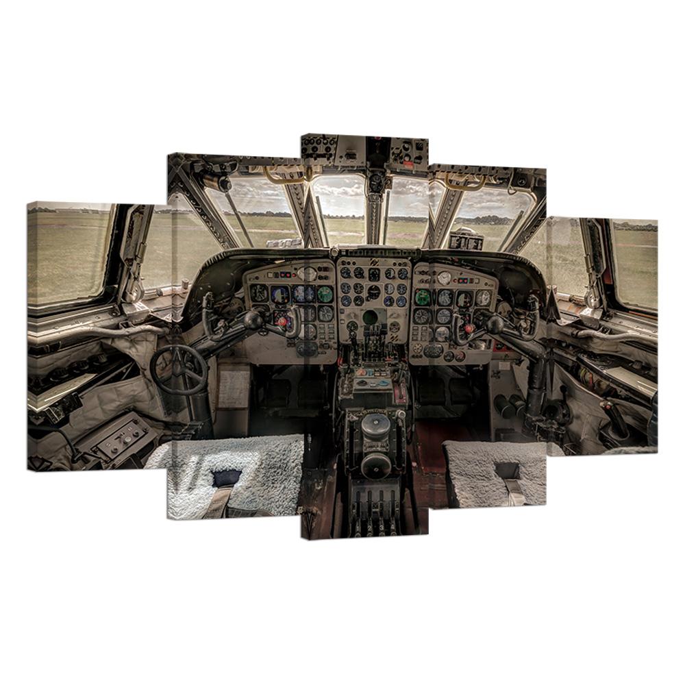 6d784bef5e3 5 Piece Vintage Airplane Cockpit Prints - David Steele Pilot Supply